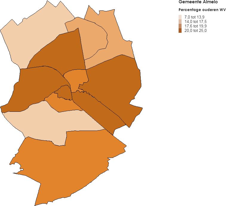 Meeste ouderen met wijkverpleging wonen in Almelo